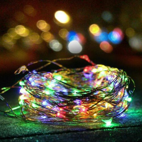 Outdoor Solar Lights Waterproof 100 LED Copper Wire String