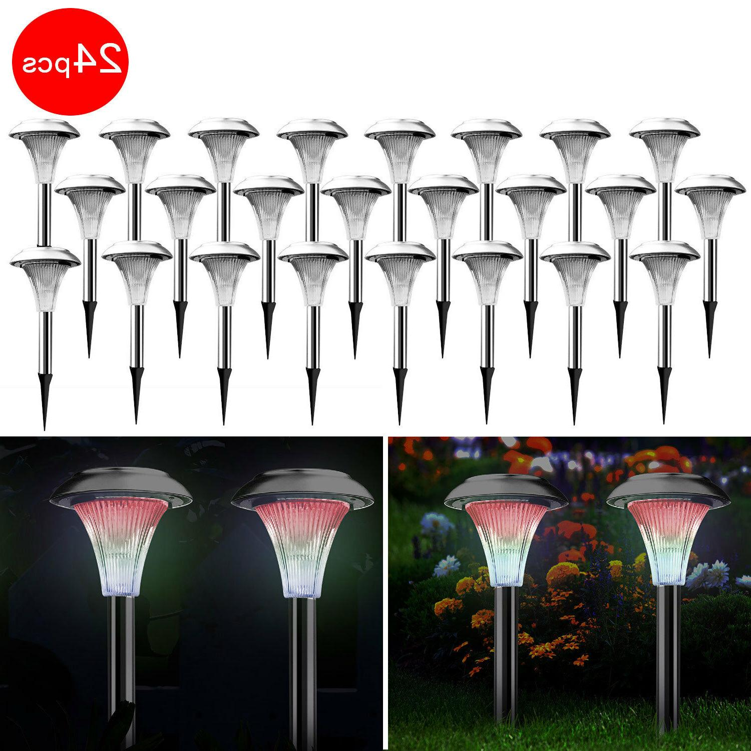 Outdoor Stainless Steel LED Solar Powered Light Garden Lawn