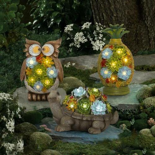 GIGALUMI Owl Garden Statues Solar 7LED Outdoor