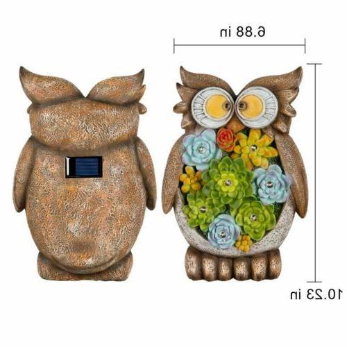 GIGALUMI Owl Solar Resin 7LED Decor