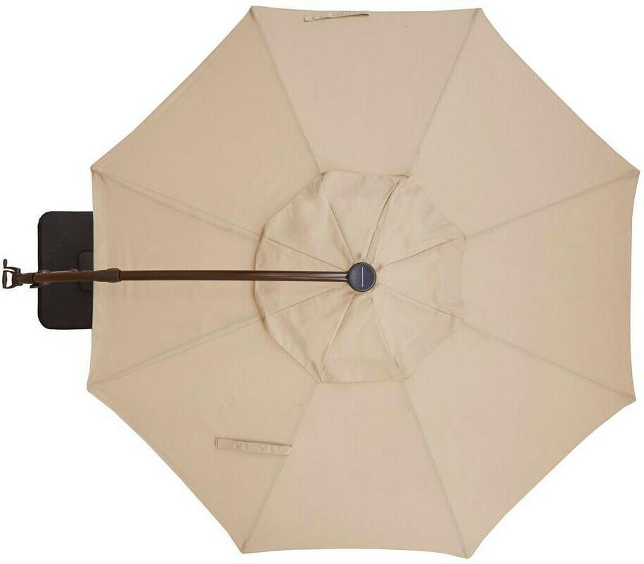Hampton Patio Umbrella 11 Solar-Powered Lights Round Offset