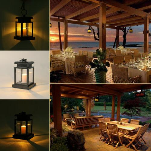 4PCS Solar Lantern Hanging Led Candle Yard US