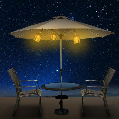 4x Solar Umbrella Hanging Warm White Lantern Lamp
