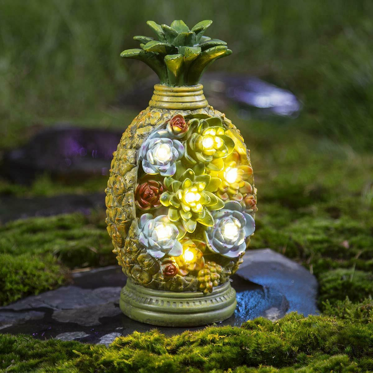 pineapple garden statues solar light resin 7led