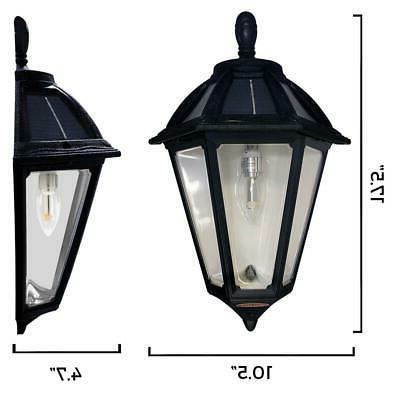 GAMA Polaris 1-Light Black Outdoor Solar Lantern Sconce