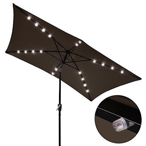 rectangular solar aluminium umbrella patio