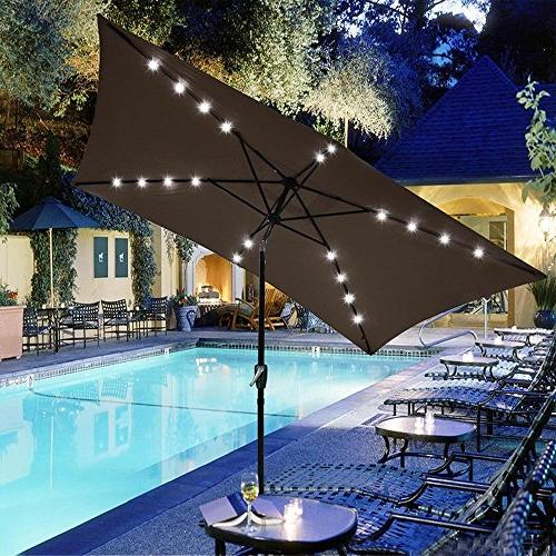 rectangular solar lights patio umbrella
