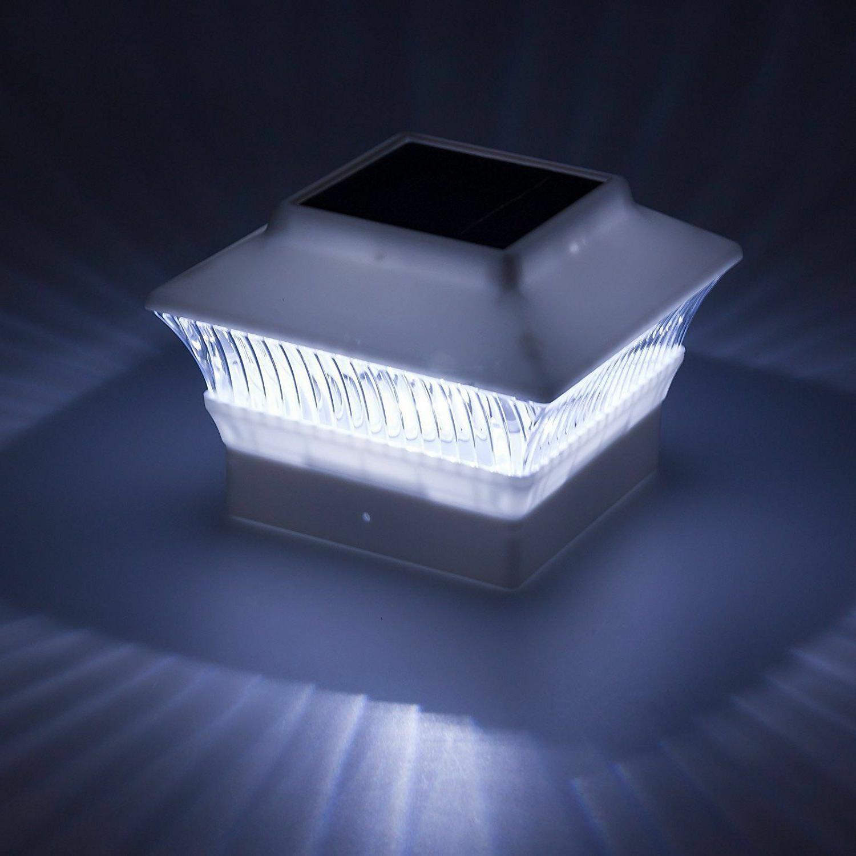 6-PACK BLACK//WHITE Solar Hexagon Cap Lights with WHITE LEDS for 4X4 Wood Post