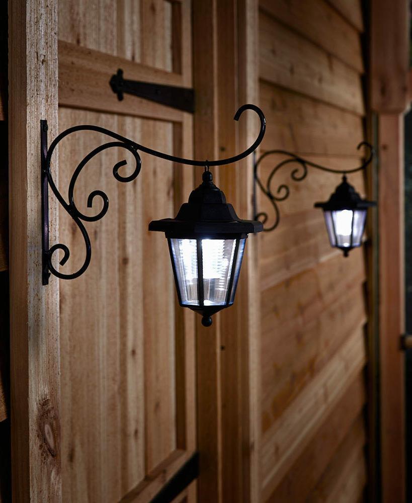 Set 2 Solar Lanterns Brackets Outdoor Porch Fence