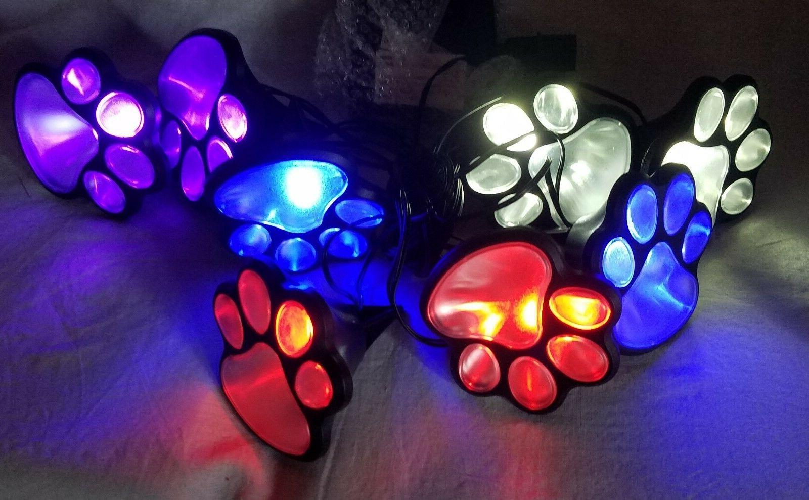 Set of Powered Paw Garden Walkway Path Lights Color