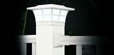 "Classy Caps SL079W White PVC Prestige Solar Post Cap, 4"""