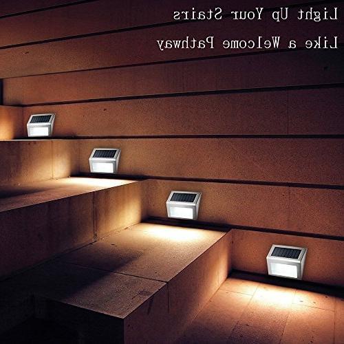 Solar Lights, 3 LED Solar Step Steel Outdoor Lighting for On/Off Waterproof