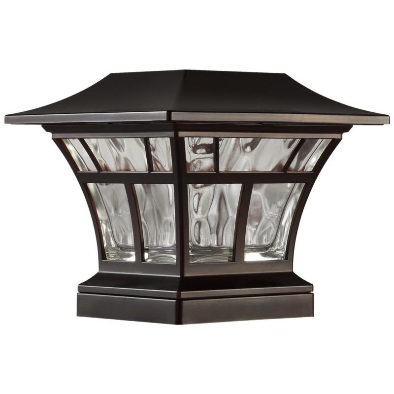 Bronze Solar Light Post Deck Cap Fence Landscape LED Lamp Fi