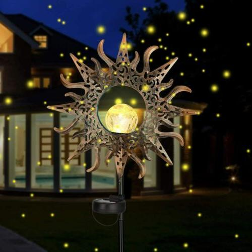 Solar Outdoor Metal Decorative Stake Light Crackle
