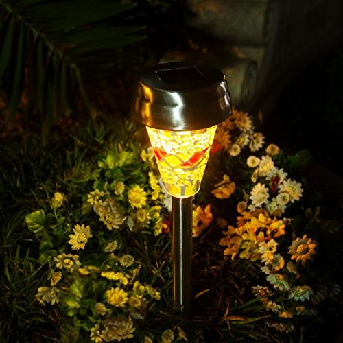 GIGALUMI Solar Outdoor, Lampshade Landscape/Pathway Lights Walkway Yard Stainless Steel-3