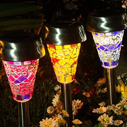 GIGALUMI Solar Garden Outdoor, Lampshade Lights, Landscape/Pathway for Walkway Driveway Patio Yard Stainless Steel-3