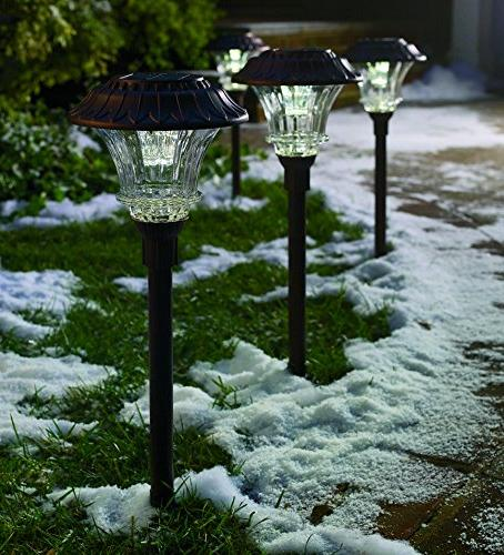 Set Garden and Cast Aluminum Bright LEDs Light 50 Lumens Easy Wire Outdoor All Weather,