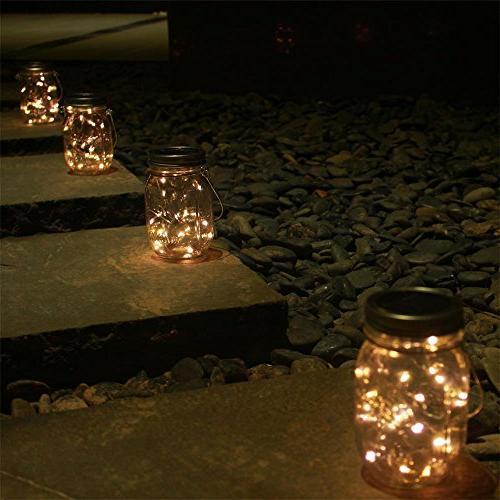 6-Pack Solar-powered Mason Lights White Glass Hanging Lighting,Outdoor for Regular for Lamp