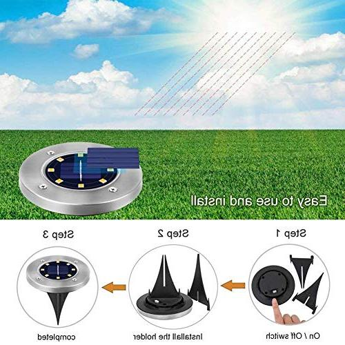 Solar Ground Disk Lights Waterproof Garden in-Ground Lights with Sensor