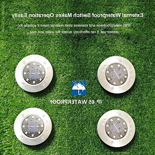Recod Solar Lights,LED Solar Garden Outdoor Light,Waterproof Sensing Landscape Lights for Driveway Walkway Pool Area,White,Work Time hour,4Pack