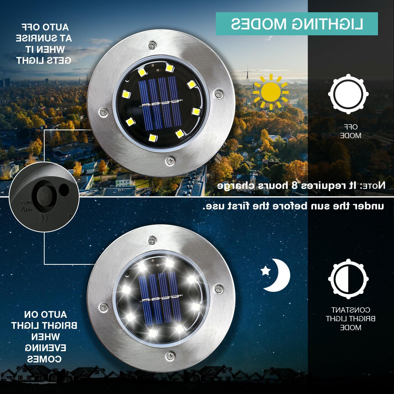 8 pack 8 led solar ground lights