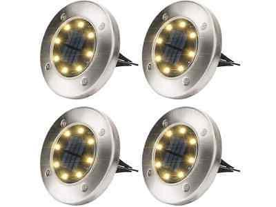 solar ground lights warm white 4 pack