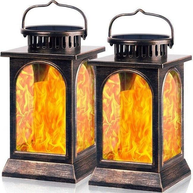 solar lantern lights flickering flame outdoor hanging