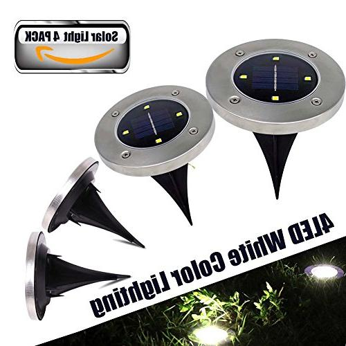 Solar Path Uplight 4 In-Ground Light for Gardern Bed Back Yard Grassland, Patio, Area White Lighting Solar Powered 4 PACK
