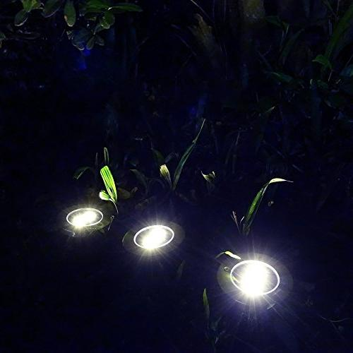 Solar Lawn Lights Path Uplight 4 In-Ground Light for Outdoor Gardern Bed Pathway, Back Grassland, Patio, Landscape White 4