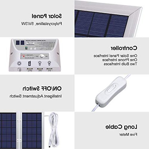 YINGHAO Solar system- comparable LED lights, 6W Solar / 8000 Battery, Controller, Port with Cell Chargers
