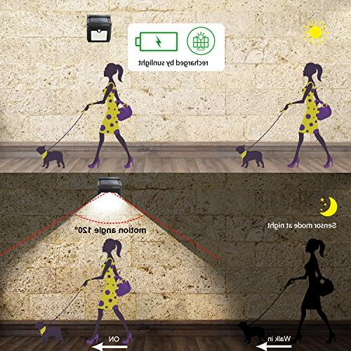 Solar 28 Sensor Wireless Solar Powered Motion Sensor Security Lights for Outside Gate Stairs Yard 2 Pack