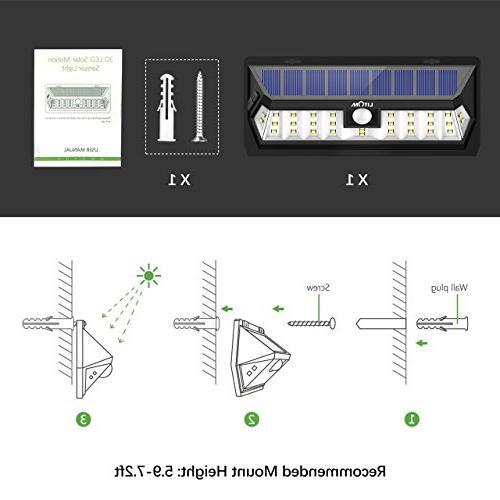 Litom Solar Lights 30 LED, Lighting Time Solar Sensor Light and Design, Wireless Solar Lighting for Garden Yard