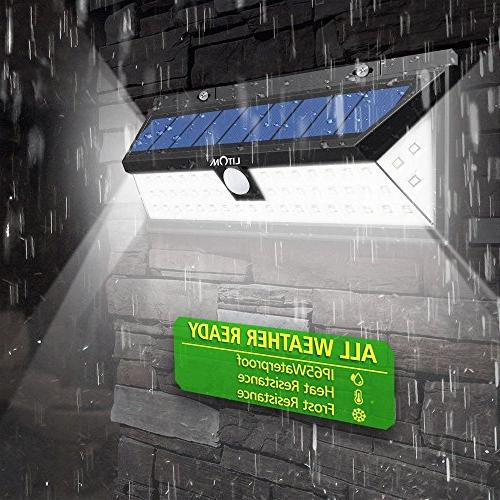 LITOM Solar 270°Wide Angle Motion Sensor Lights, Waterproof Solar Door, Yard, Porch,