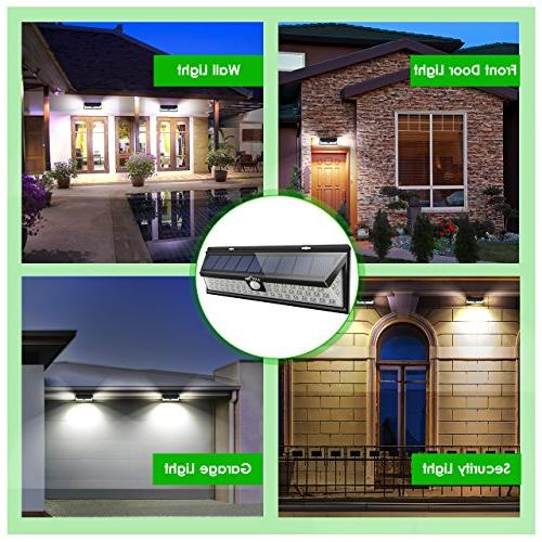 LITOM Solar Lights 54 270°Wide Motion Lights, Wireless Waterproof Security Solar for Door, Yard,