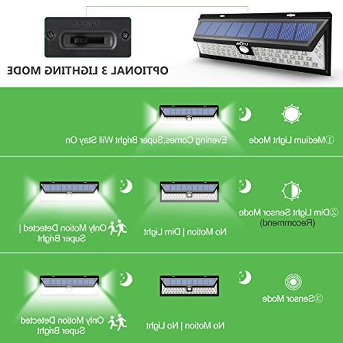 LITOM Solar Outdoor, 54 LED Bright 270°Wide Lights, Wireless Solar Door, Porch,