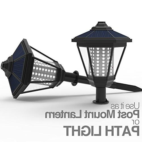 LAMPAT Solar LED Decorative Lantern Garden Light Path Lawn Backyard, Black 2 Pack