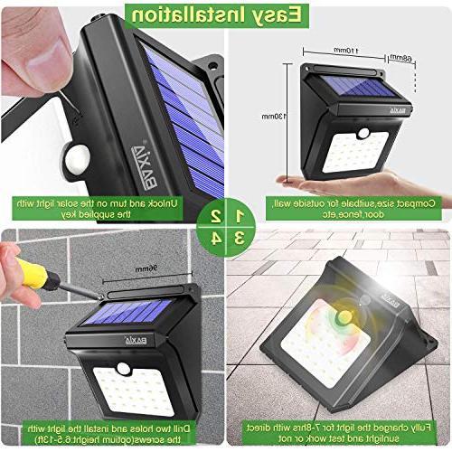 BAXIA Solar Outdoor,Wireless 28 Motion Sensor Lights,Waterproof Lights for Yard,Fence,Garage,Garden,Driveway