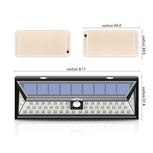 LITOM Solar Lights 54 270°Wide Motion Lights, Solar Porch, Walkway, Fence