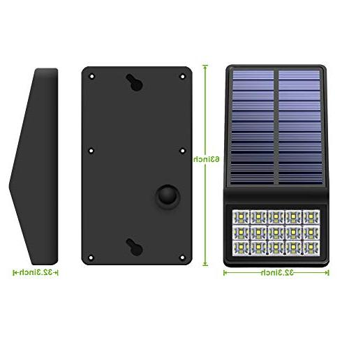 Solar Lights Pack - LED Motion Lights with DIM Mode Solar Light for Patio Wall Path Deck