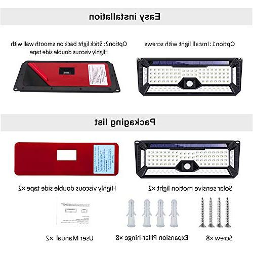 Solar Outdoor, 136LED Lights Sides Lighting Area,Super Installation Security for Front Door, Patio,Yard