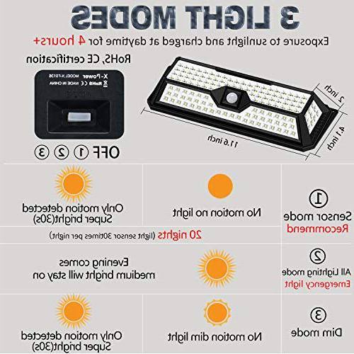 Solar Lights 136LED 4 Sides with Wide Lighting Area,Super Bright,Easy Security Front