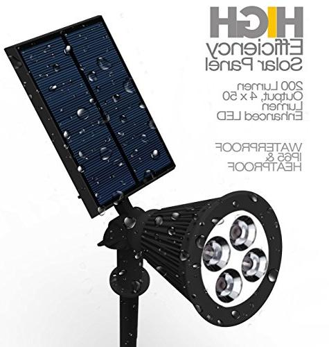 Solar Lights Black Waterproof 4 Spotlight Garden pack