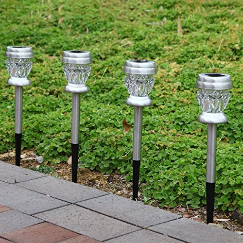 GIGALUMI Solar Dual Led Landscape/Pathway Lights Steel Color Changing and White-4Pack