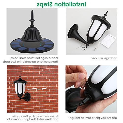 TomCare Flames Wall LED Solar Lights Outdoor Dancing Flame Wireless Waterproof Wall Night Design Patio