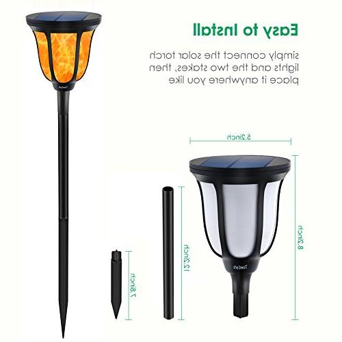 TomCare Solar Torches Flame Decoration Lighting Solar Powered Dusk to Dawn On/Off for Yard