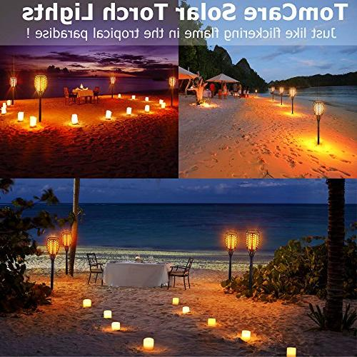 TomCare Solar Lights Waterproof Flames Lights Spotlights Landscape Lighting to Dawn Auto Security Torch Patio Driveway