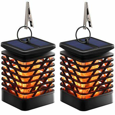 TomCare Solar Lights Lanterns Dancing Flame Outdoor Hanging