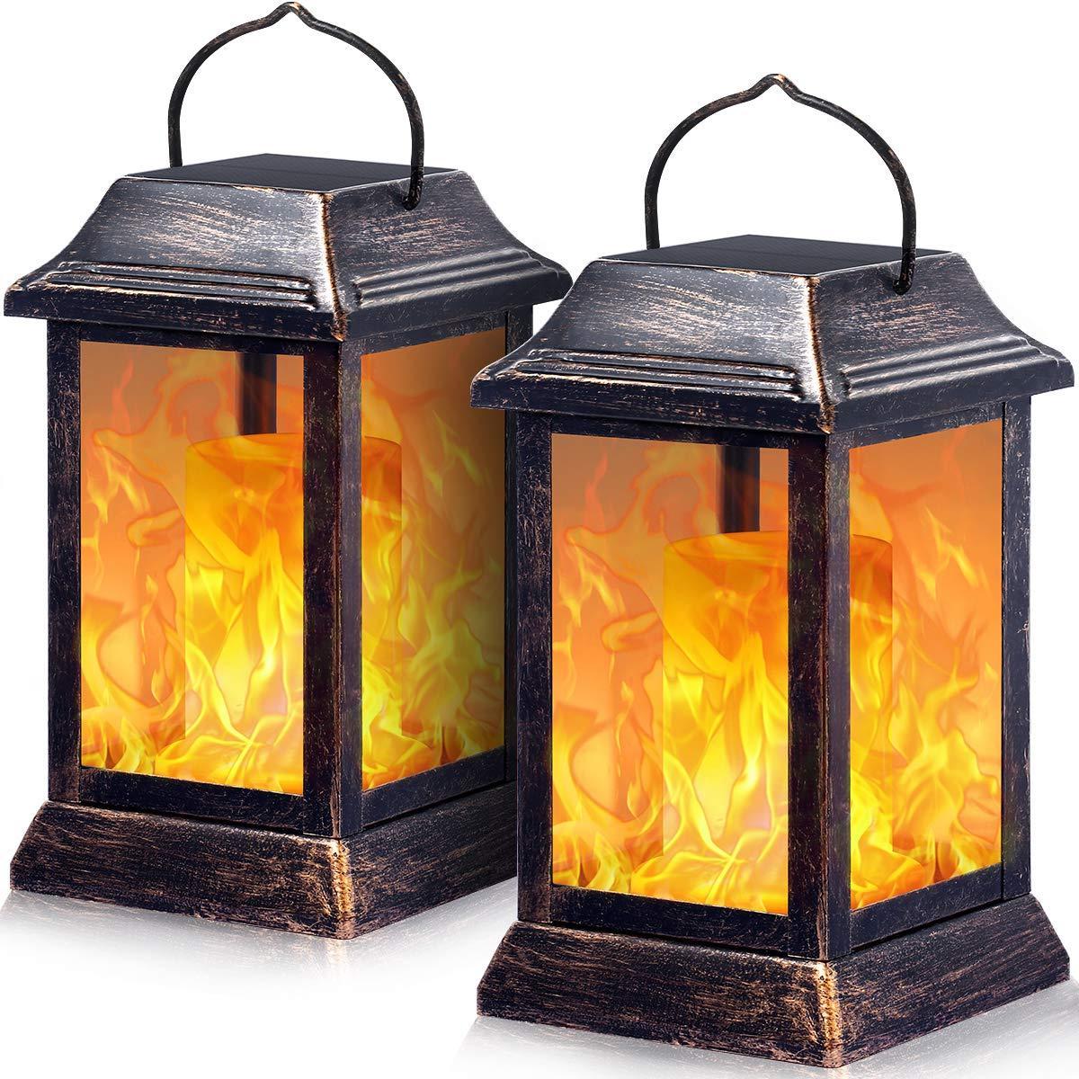 solar lights metal flickering flame solar lantern