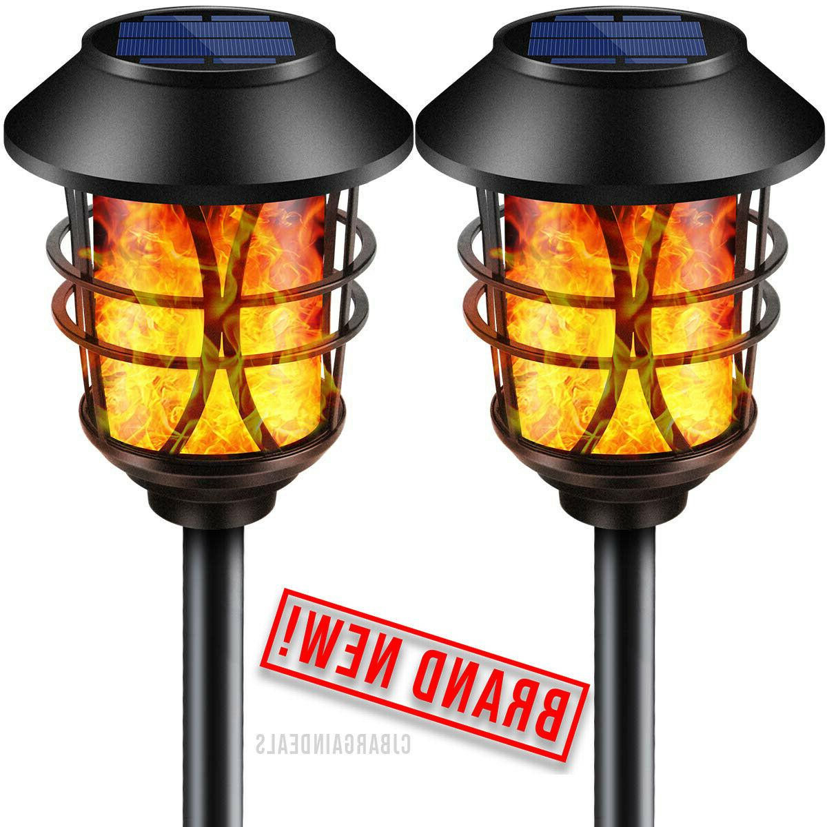 TomCare Solar Lights Metal Flickering Flame Torches Waterpro