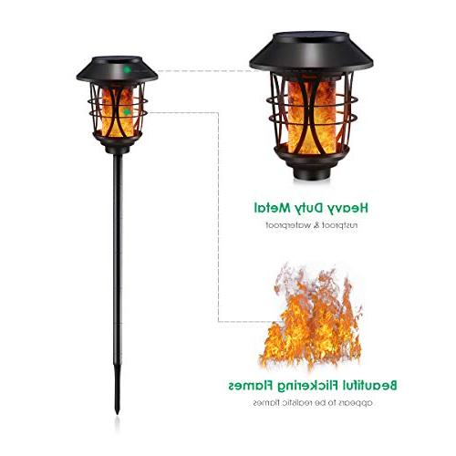 TomCare Flickering Solar Torches Lights Waterproof Duty Lighting Lights to for Yard, 2